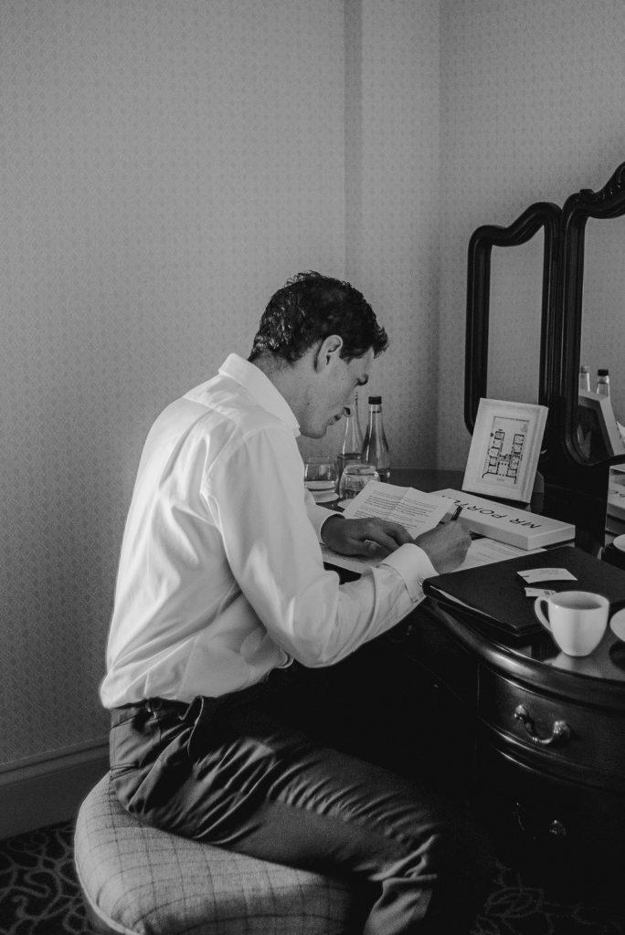 groomsmen writing speech