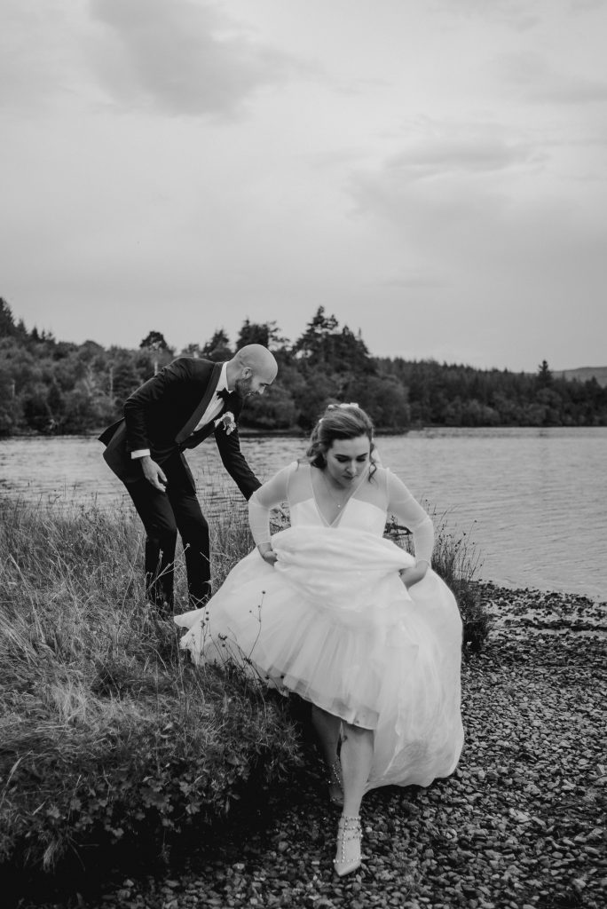 bride stepping down off grass